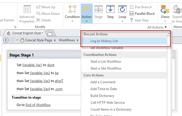 how to create action item use sharepoint designer workflow