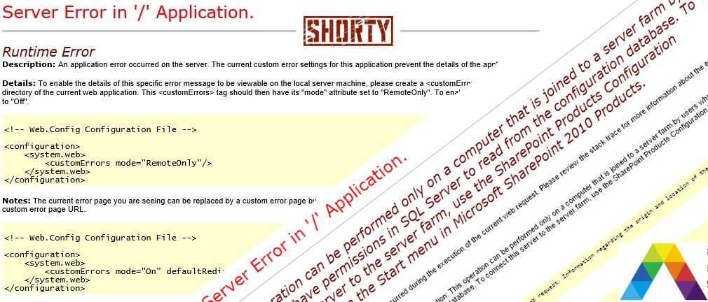 How to Server Error in Application Shorty title