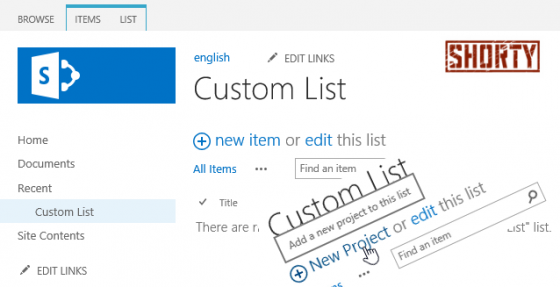 "Change label ""new item"" of lists and libraries (en)"