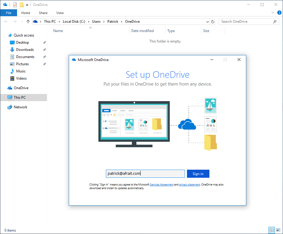 Set up OneDrive
