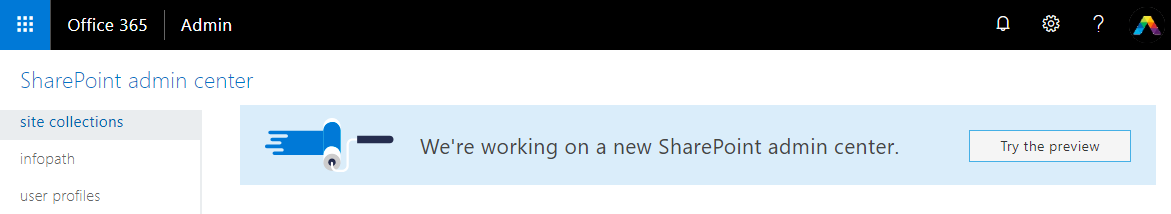 The new SharePoint admin center