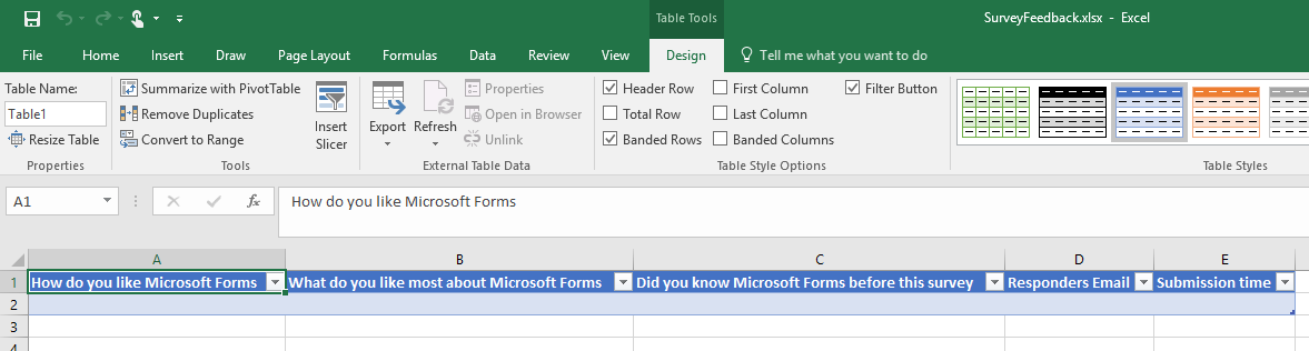 Excel file the table