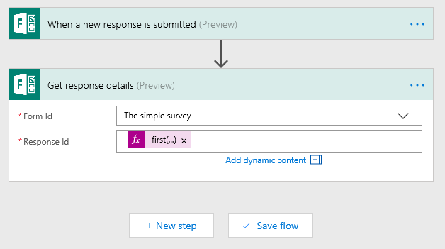Get response id in Flow and Forms set