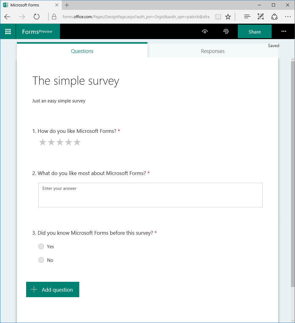 A simple survey form