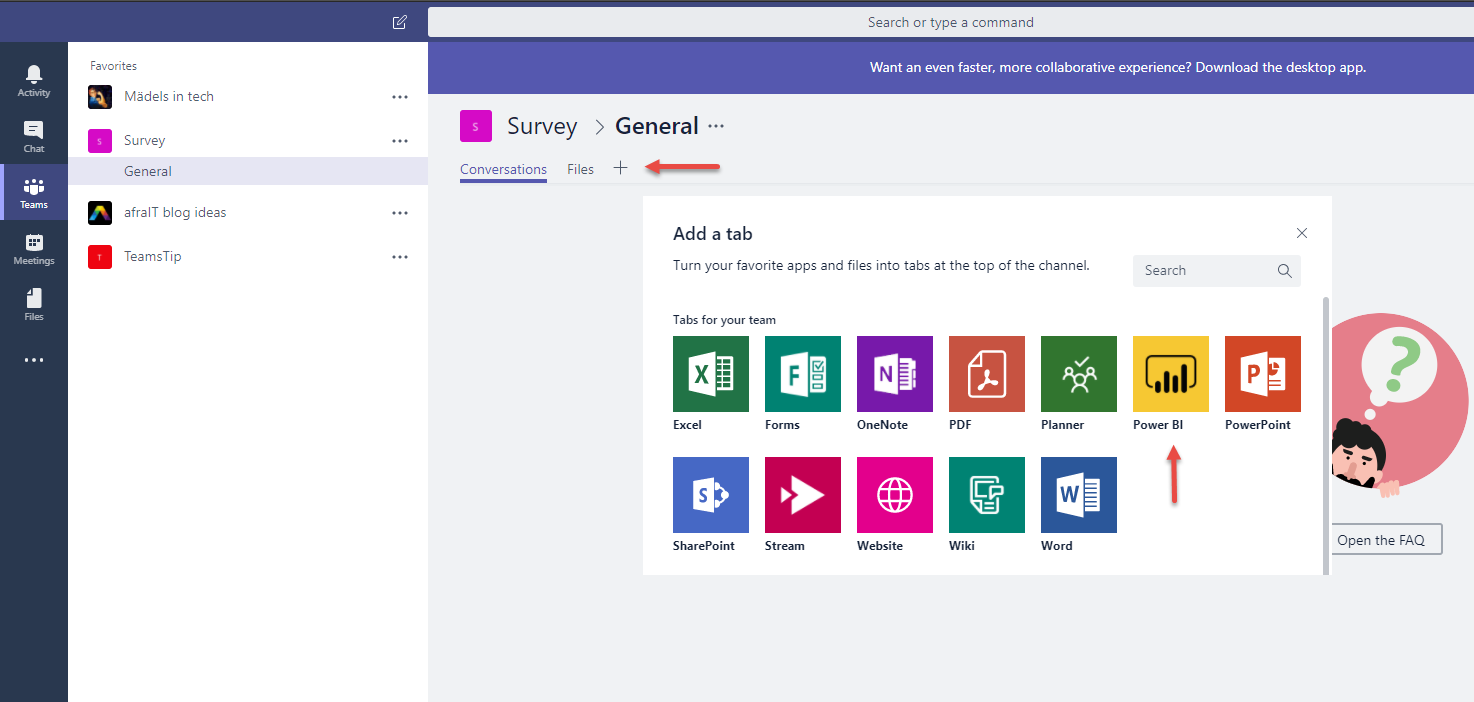 Add a Power BI tab in Microsoft Teams