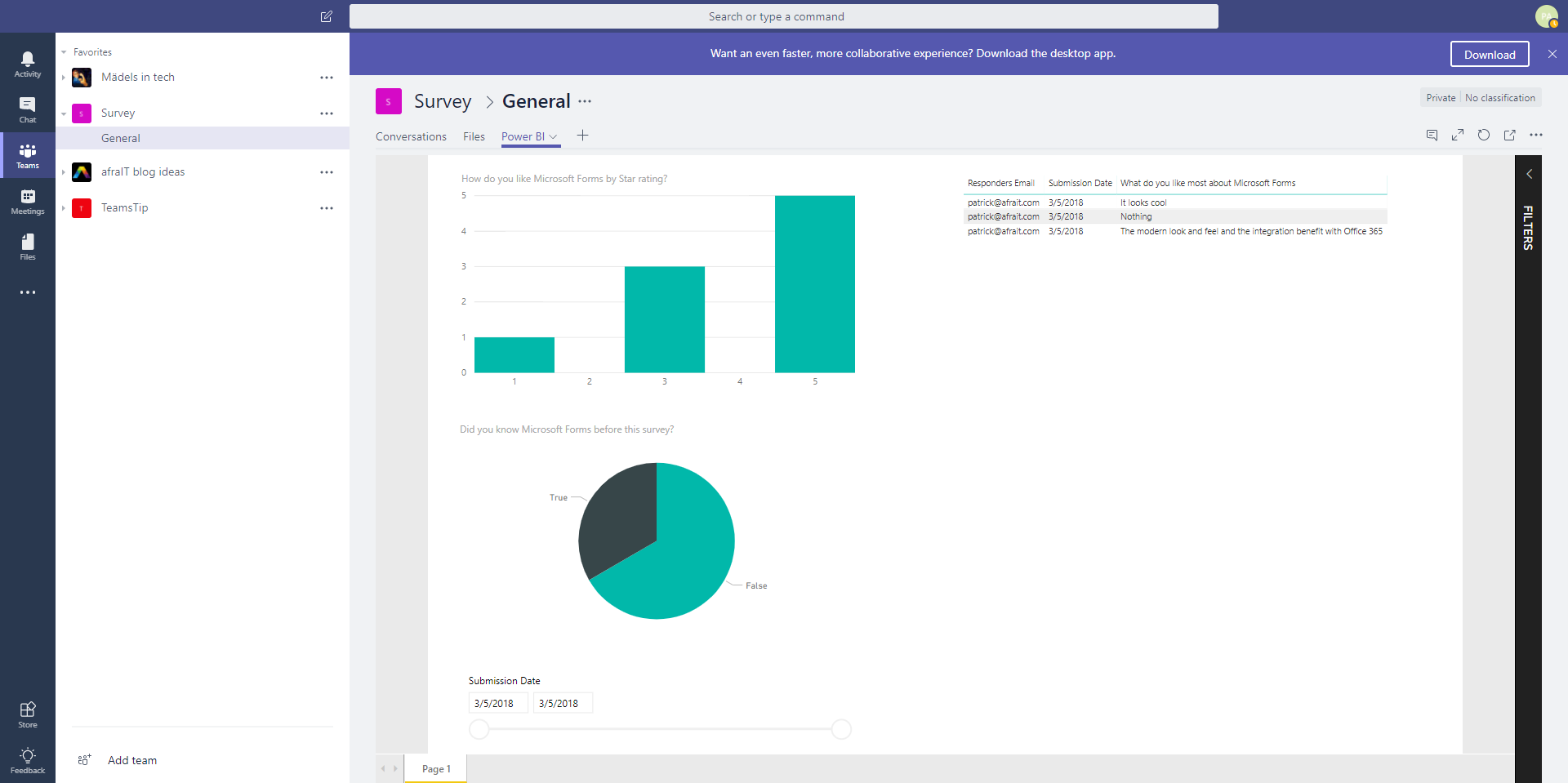 Embedded Power BI Report in Microsoft Teams