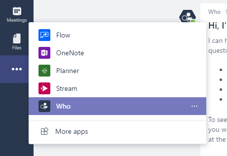 Who-Bot in Microsoft Teams