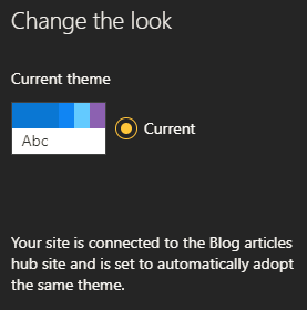 Theme change disabled for connected sites