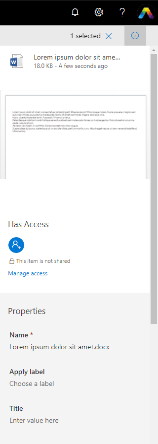 Open your OneDrive file information