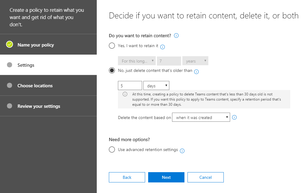 Settings of your deletion policy