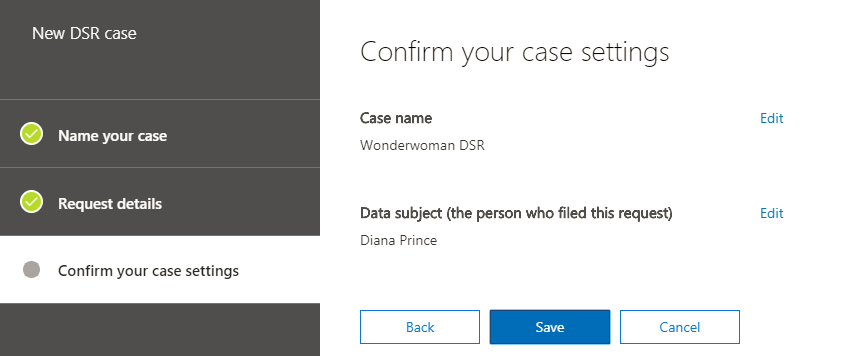 Confirm your DSR case