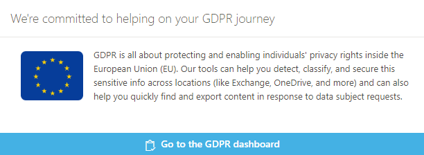 Go to the GDPR dashboard