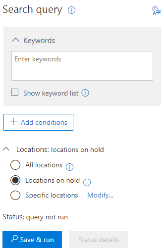 eDiscovery Search Query settings