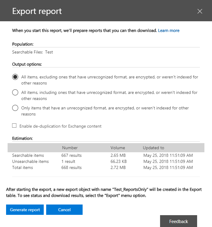 Export report output settings