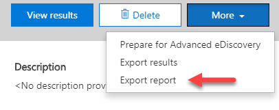 Export your search report