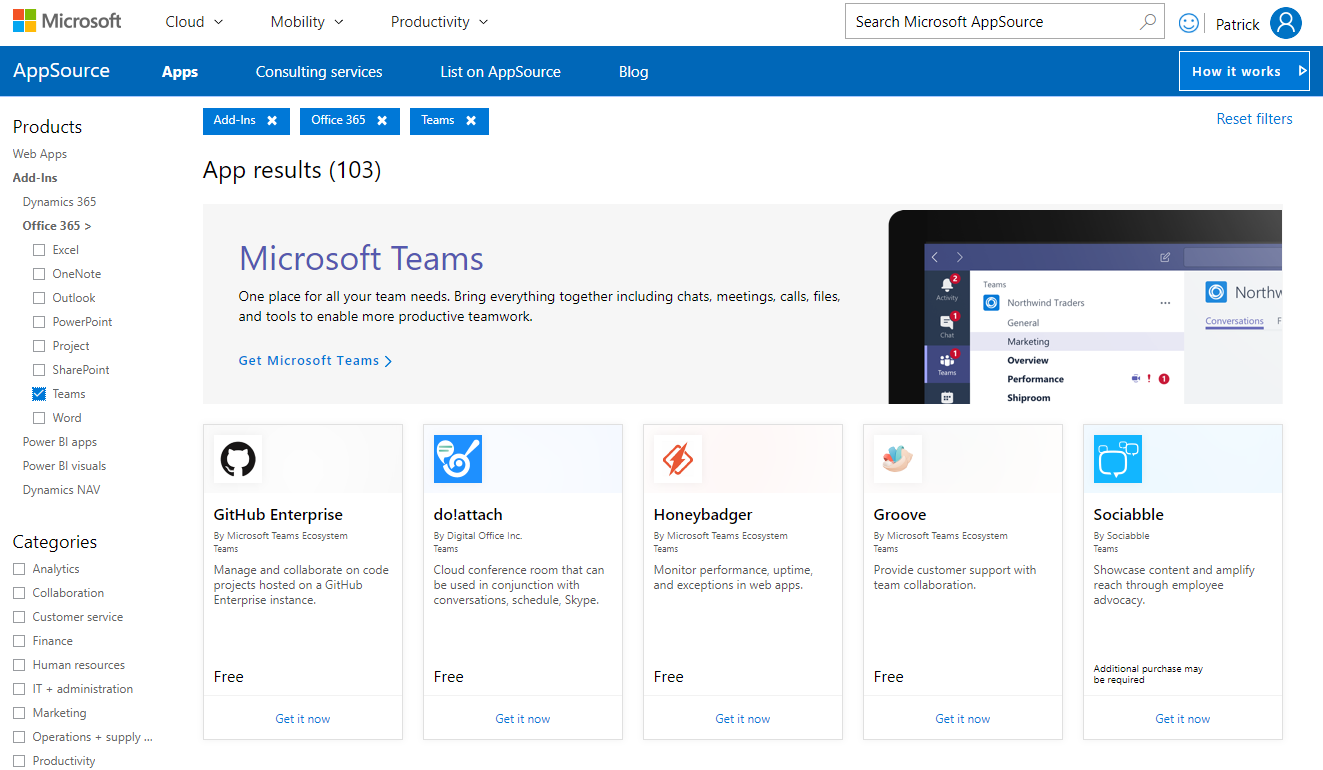 AppSource Microsoft Teams app results