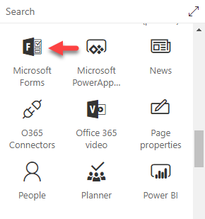 Microsoft Forms web part in SharePoint