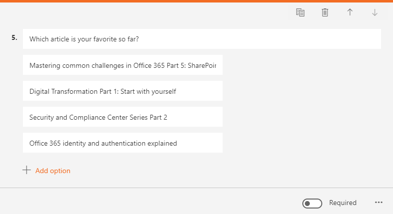 Microsoft Forms - Ranking option