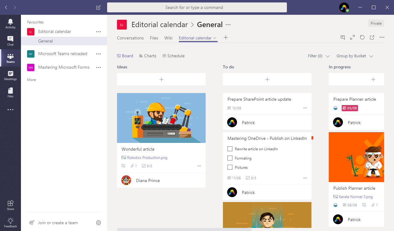 Planner integration in Microsoft Teams