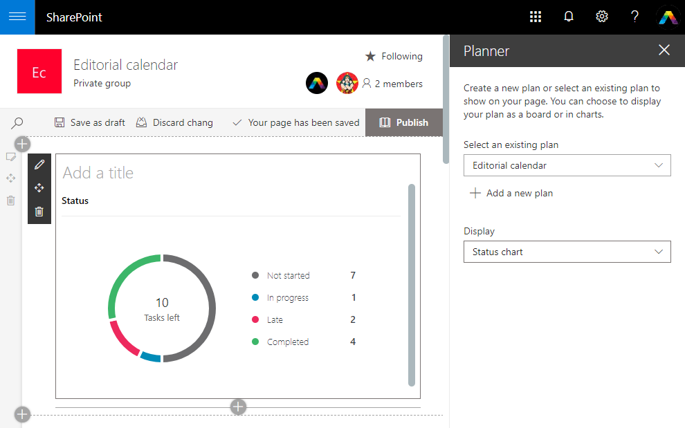 Choose the Planner view in SharePoint