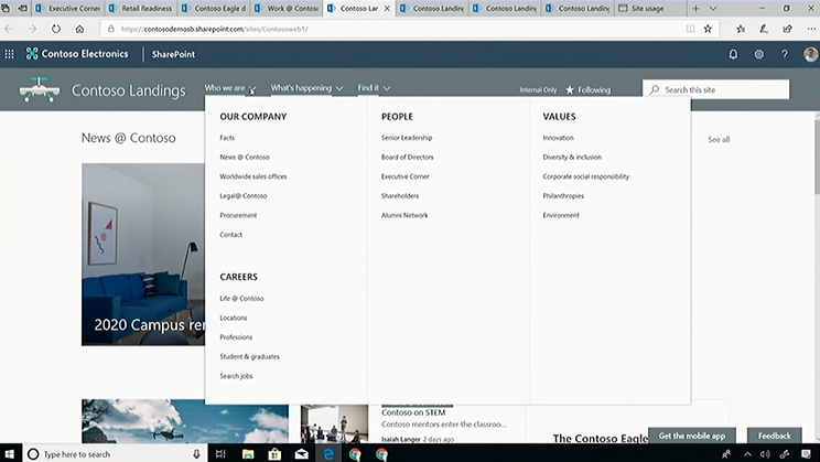 SharePoint mega menu