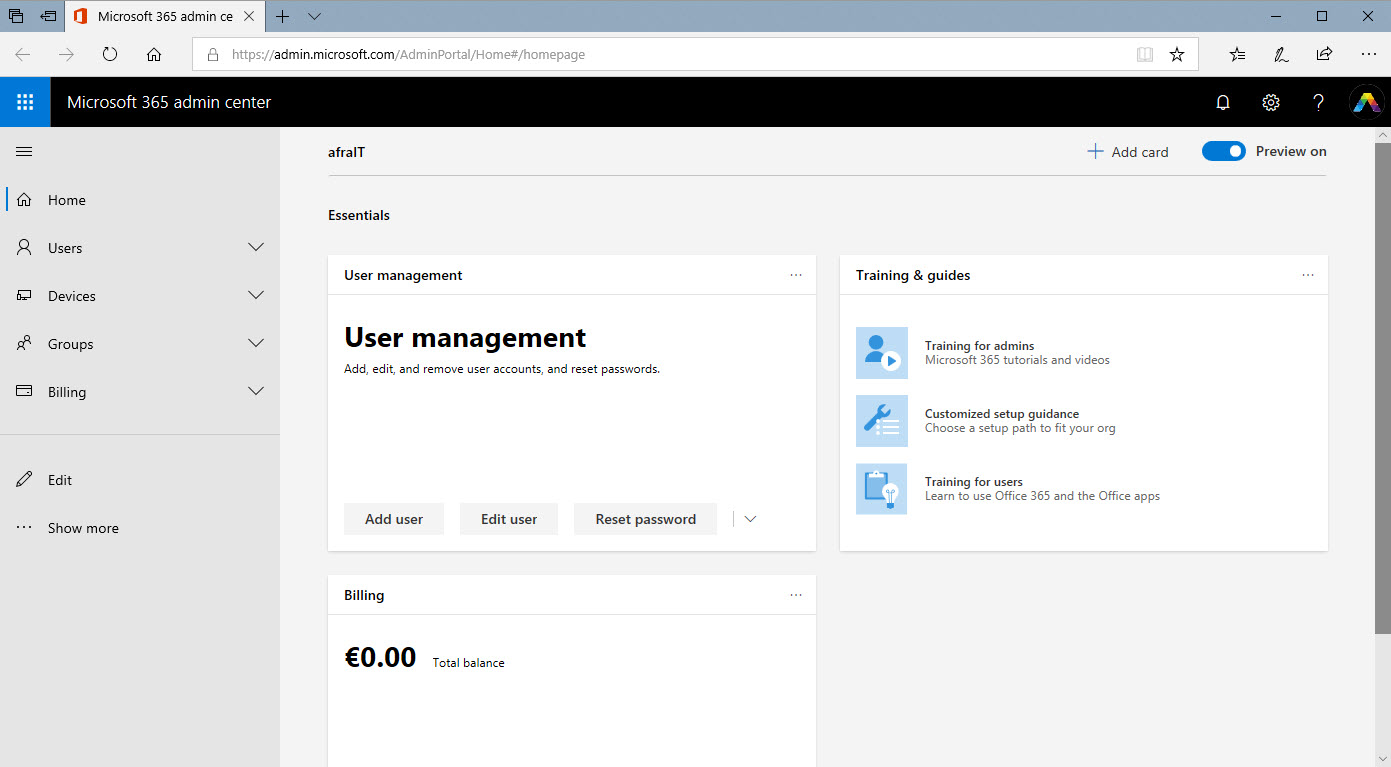 Microsoft 365 admin center preview