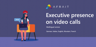 Executive presence on video calls Banner  languages